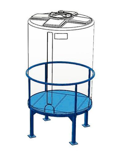 Podeste aus pulverbeschichtetem Stahl für zylindrische Lager- und Auffang-Behälter ab 60 Liter Volumen.