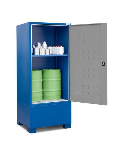 Gefahrstoffdepot Securo Typ SC-1 mit 1 Regalboden zur Lagerung von z. B. 2 Fässern à 60 Liter und weiteren Kleingebinden