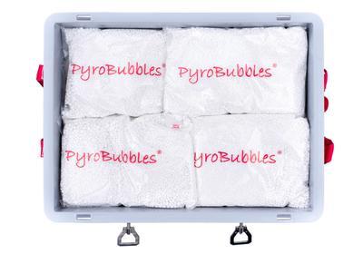 Alle Behälter werden mit einer für den Betrieb ausreichenden Füllmenge PyroBubbles geliefert