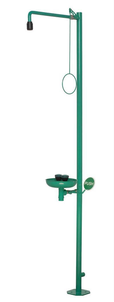 Körperdusche mit Augendusche und Auffangbecken, aus Edelstahl, wahlweise grün pulverbeschichtet oder poliert