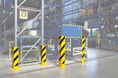 Für Anfahrschutzwinkel werden 4 Befestigungsdübel (Winkelprofil) bzw. 6 für das U-Profil benötigt