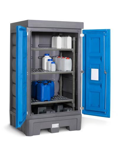 PolySafe-Depot Typ D1 mit Türen und integriertem Regalsystem aus Kunststoff