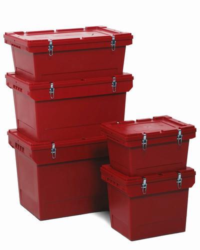 Mehrwegbehälter zum Transport von Gefahrgut aus purpurrotem Polypropylen in 5 Größen.