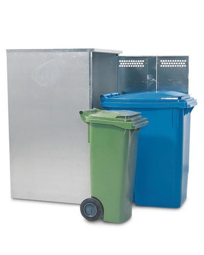 Verzinkte Box mit ausreichend Platz für kleine (hier: 80 Liter) oder große (hier: 360 Liter) Mülltonnen