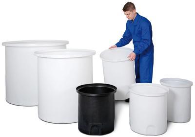 Auffang-Behälter für Lager- und Dosierbehälter, in natur oder schwarz, Volumen von 80 bis 1000 Liter