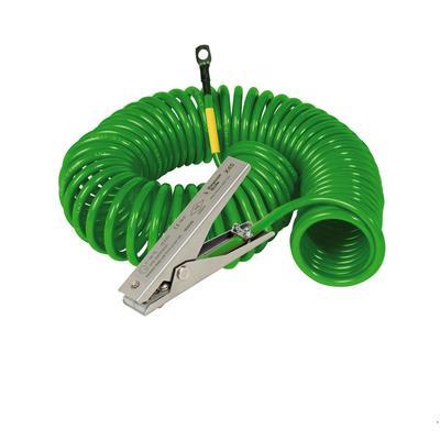 Spiralerdungskabel gemäß Atex mit 1 Erdungszange Typ MD und 1 Öse