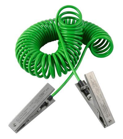 Spiralerdungskabel mit 2 Erdungszangen Typ MD.