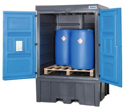 PolySafe-Depot Typ C, zum Einstellen von bis zu 4 Fässern à 200 Liter auf einer Chemiepalette