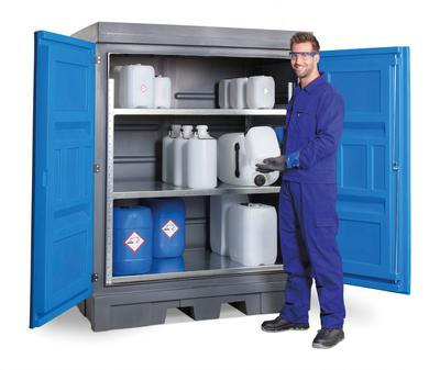 PolySafe-Depot Typ D mit Türen und integriertem Regalsystem aus Stahl