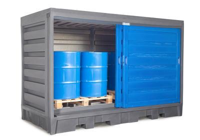 PolySafe-Depot Typ 2C, zur Lagerung von bis zu 8 Fässern à 200 Liter auf Chemiepalette