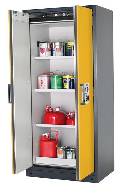 Gefahrstoffschrank Typ W 93, B 893 mm, Türen in sicherheitsgelb