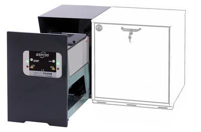 Der Umluftfilter ist auf die Druckverhältnisse und Volumenströme von Unterbauschränken ausgelegt. Er wird in einer Gehäuseeinheit (B 420, T 615 mm) direkt am Unterbauschrank angebaut. Passend für Modelle mit Höhe 600 mm + mobiler Sockel und Tiefe 574 mm