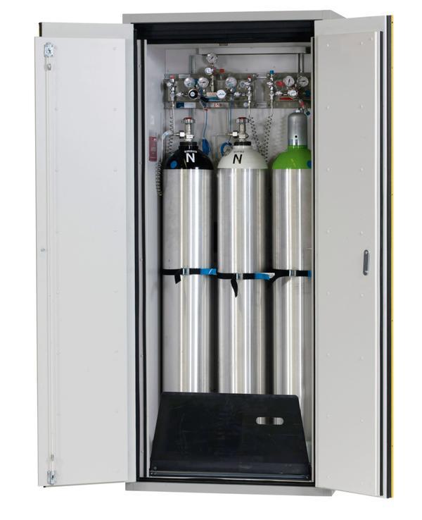 Feuerbeständiger Gasflaschenschrank Typ G 90.9, Breite 900 mm. Wahlweise als G30- oder G90-Version lieferbar.