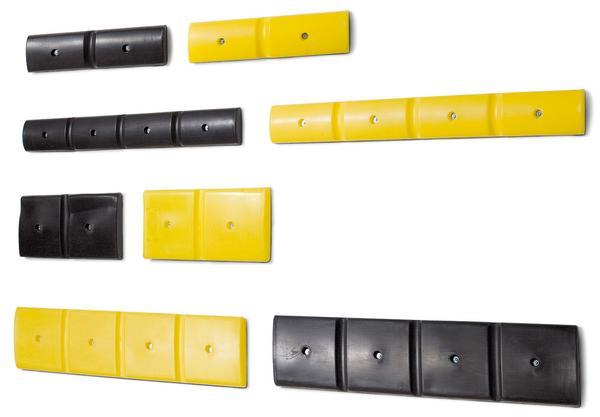 Alle Wandschutzprofile gibt es in gelb oder schwarz, bzw. schmal oder breit.