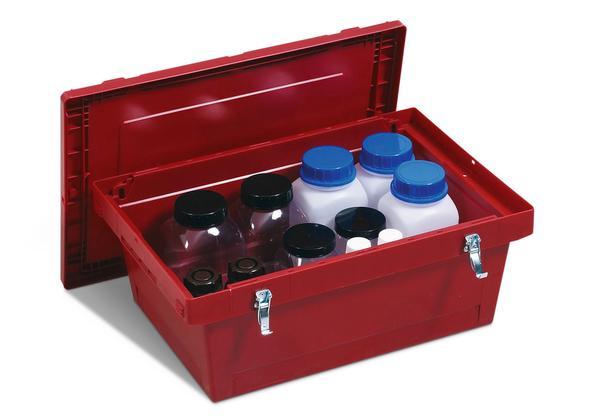 Gefahrstoff-Transportbehälter mit Stülpdeckel und praktischen Verschluss-Clips.