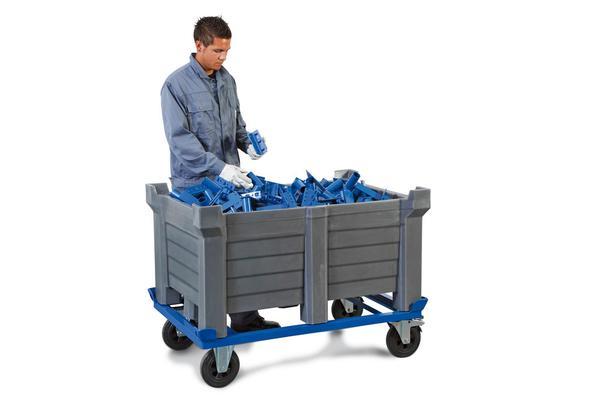 Fahrgestell für Stapelbehälter, Maße B x T x H (mm): 800 x 1200 x 210
