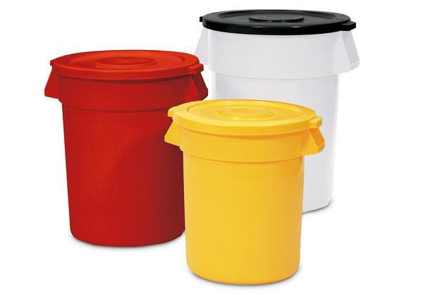 Runde Mehrzweckbehälter, lieferbar in 5 Größen und 5 Farben (Deckel optional)
