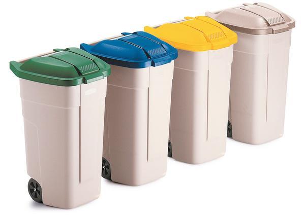 Fahrbare 100-Liter-Rolleimer, optional mit abnehmbaren Klappdeckeln in 6 Farben zur Wertstoffsortierung
