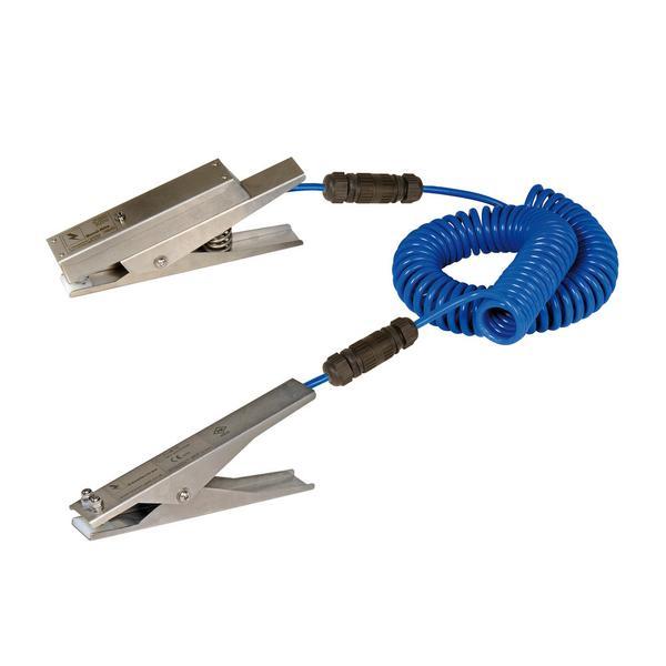 Typ EZ mit 2 Zangen. Mobil und sicher - verbindet 2 Behälter oder 1 Behälter, Tankfahrzeug etc. mit Erdungspunkt und zeigt über eine LED an, wenn beide Zangen sicheren Kontakt haben.