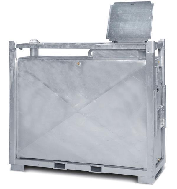 Alle Armaturen sind durch ein Blechgehäuse mit aufklappbarem, abschließbarem Deckel geschützt