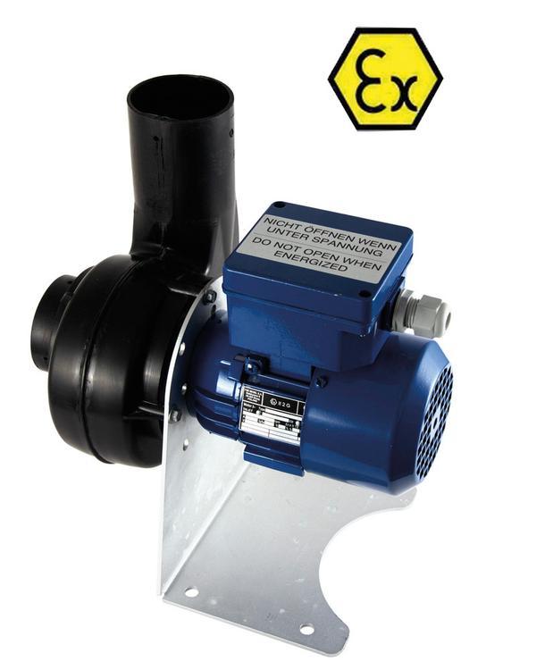 Radialventilator, explosionsgeschützt zum unbeschränkten Einsatz auch in Zone 1, CE Ex II 2G c IIB T4 PTB07 ATEX D 105 , Stromanschluss 400 V / 50 Hz.
