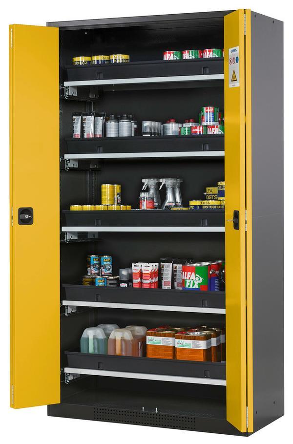 Falttürenschränke benötigen bei geöffneten Türen eine geringe Stellfläche. Die leicht zu öffnenden Türen bieten einen schnellen Zugriff auf den gesamten Schrankinhalt