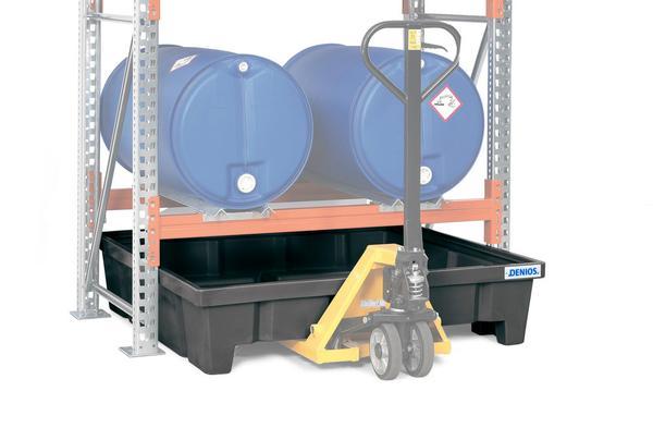 Die PE-Regalwannen sind innerbetrieblich problemlos per Gabelstapler zu transportieren.