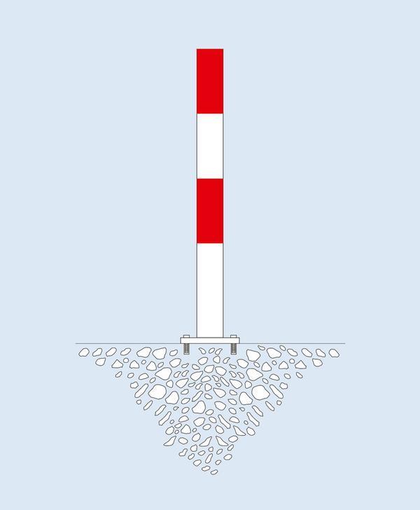 In der Version zum Aufdübeln werden die Sperrpfosten mittels einer Bodenplatte (160 x 140 x 10 mm) befestigt. Höhe 1000 mm